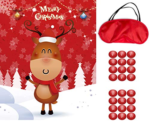 Ocosy Christmas Party Games Pin The Nose on The Reindeer Game Xmas Game Gifts Christmas Decorations (Reindeer)