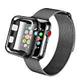 AdMaster for Apple Watch Band 42mm Stainless Steel Metal Replacement Wristband Milanese Sport Strap and Apple Watch Screen Protector for Apple Watch Series 3 2 1, Space Grey