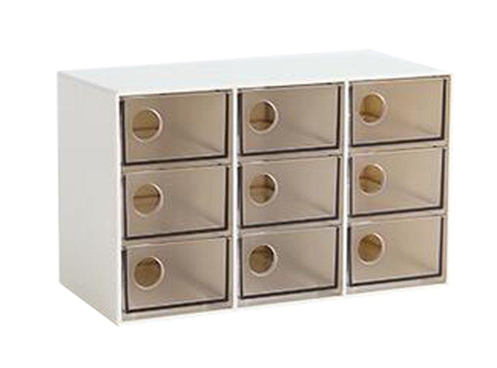 Modern Office Plastic Desktop Storage Drawer Organizer-9 Storage Cabinets Brown Blancho Bedding