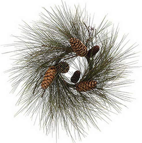 Mikash 24 Long Needle Pine Pinecone Artificial Hanging Wreath -Green/Brown (Pack of | Model WRTH - 306 ()