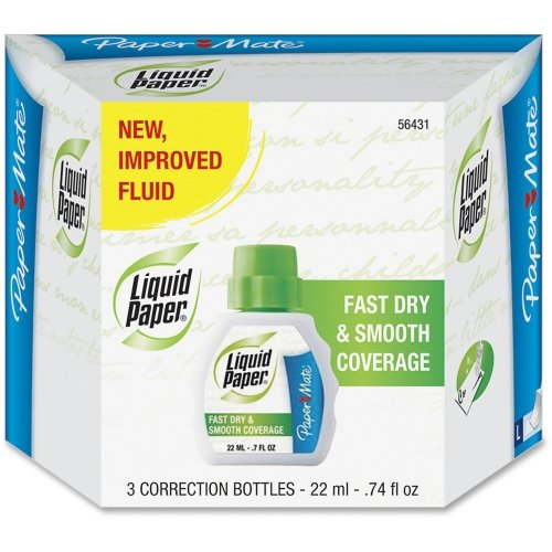 papermate-liquid-paper-fast-dry-correction-fluid-foam-074-fl-oz-spill-resistant-fast-drying-3-pack