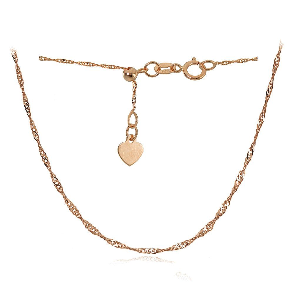 Bria Lou 14k Rose Gold 1.4mm Italian Singapore Adjustable Chain Anklet, 9-11 Inches