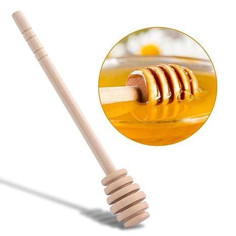GOTOTOP 50pcs Mini Varillas de legn dispensador para Miel, Miel Café Leche Té mescolando Jar