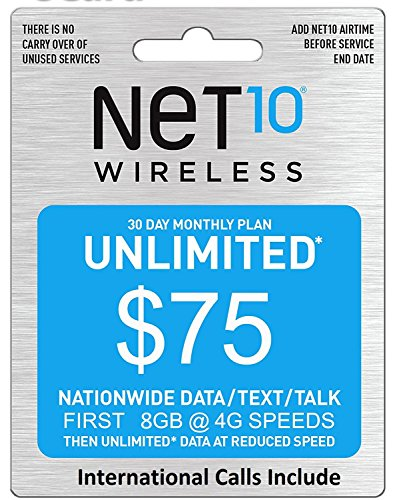 Net10 Preloaded Nano Sim card - Hotspot - First month included - AT&T network (8GB)