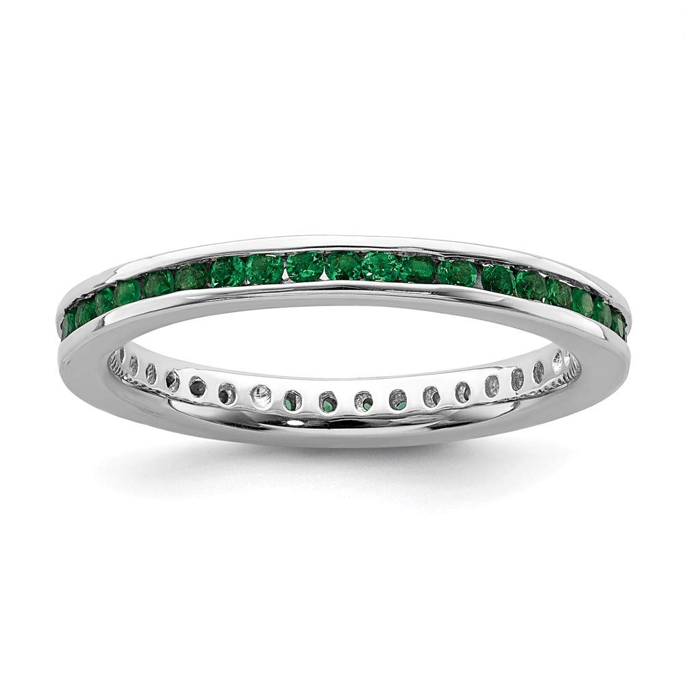 925 Sterling Silver Created Green Emerald Band Ring Size 7.00 Stone Stackable Gemstone Birthstone May Fine Jewelry Gifts For Women For Her