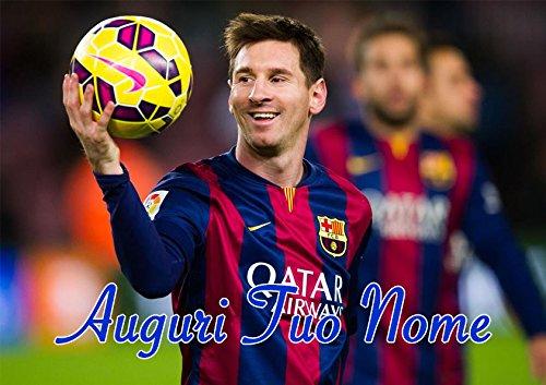 Cialda per Torta Rettangolare Messi Barcellona Personalizzabile messi001