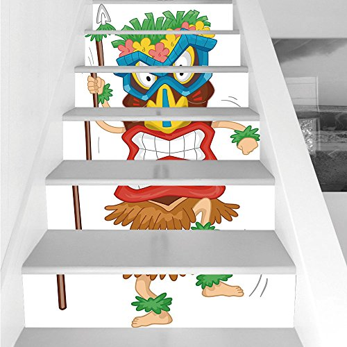 Stair Stickers Wall Stickers,6 PCS Self-adhesive,Tiki Bar Decor,Native Man Wearing Mask Illustration Cartoon Tribal Costume Primitive Ritual Decorative,Multicolor,Stair Riser Decal for Living Room, -