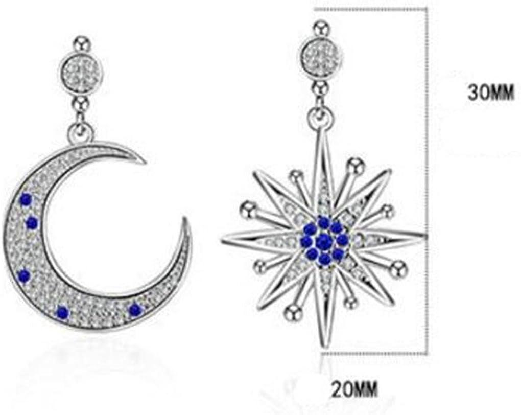 Wiftly Femme Fille boucles doreilles en Argent 925 et Zirconium Longue deLune et les /étoiles Hypoallerg/énique asym/étrique Studs