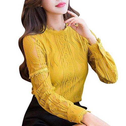 Elegante Pizzo Abcone Righe Floreali Felpa Maniche Tops Donna Camicie A Pullover Camicette Ufficio Casual T shirt Lunghe Autunno BHqx7pH
