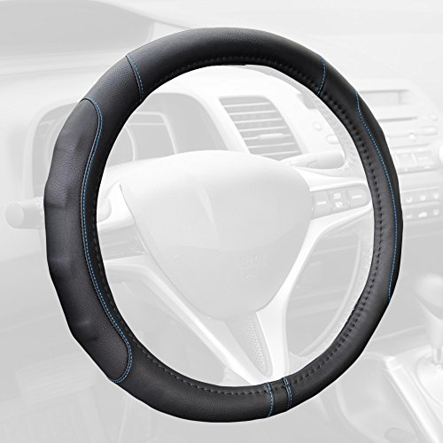 GripDrive Pro Synthetic Leather Auto Car Steering Wheel Cover Black w/ Blue Accent Stitching Comfort Grip - Small 13.5 to 14.5 inch (Best Steering Wheel Cover For Cold Weather)