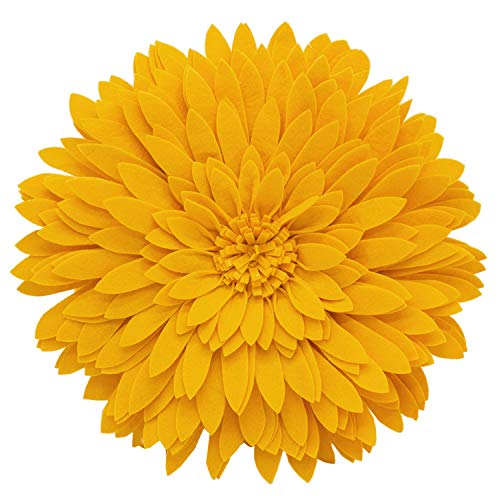 (Elegant 3D Sunflower Throw Pillow - Round 13 x 13 Decorative Throw Pillow - Yellow Sunflower Pillow For Couch, Bedroom And Living Room Decor - Gold Sunflower Decorative Pillows With)