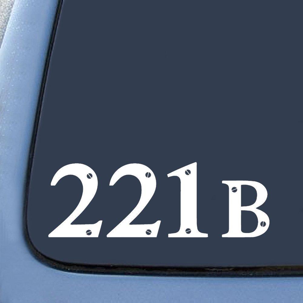 "Sherlock Holmes Inpsired 221B Baker Street Sticker Decal Notebook Car Laptop 5"" (White)"