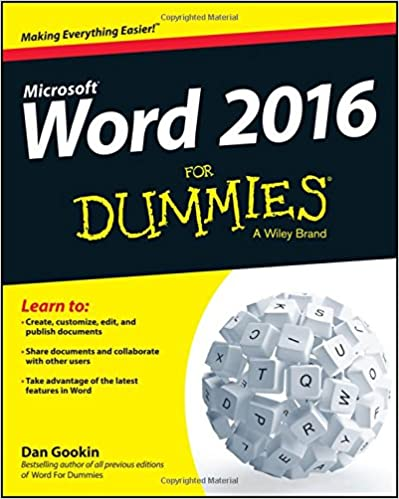 Word 2016 For Dummies Dan Gookin 9781119076896 Amazon Com Books