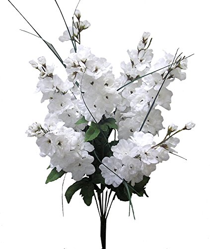 Admired By Nature Artificial Full Blooming Delphinium Flowers, Flower Buds & Greenery for Home, Wedding, Restaurant & Office Decoration Arrangement, White, 7 Stems (4 Pieces)