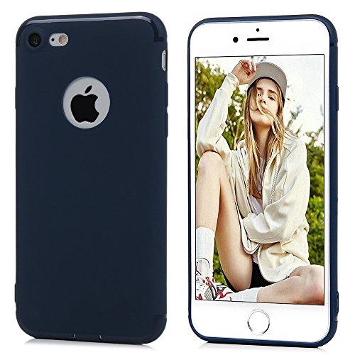"""Mavis's Diary Coque iPhone 7 (4.7"""") TPU Souple Housse de Protection Étui Téléphone Portable Découpe du Logo Bleu Phone Case Cover+Chiffon"""