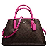 SALE ! New Authentic COACH Margot Signature Brown & Bright Pink Fuchsia Satchel, Carryall