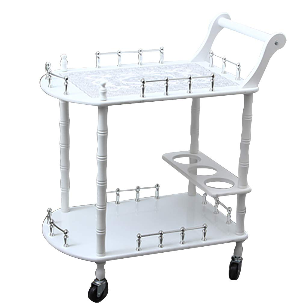 White+B Service Cart Bar Wine Serving Trolley with 3 Wine Rack,Kitchen Island Storage Trolley 3 Tier Dining Cart with Wheels for Family Hotel Restaurant Upscale Club
