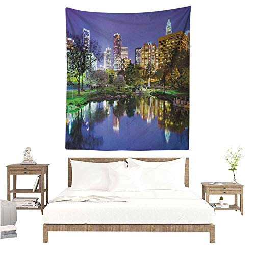 - WilliamsDecor Polyester Tapestry City North Carolina Marshall Park United States American Night Reflections on Lake Photo 54W x 84L INCH Suitable for Bedroom Living Room Dormitory