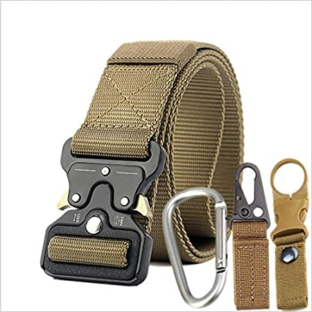 Kipove Mens Canvas Quick Release Metal Buckle Nylon Training Belt Military Army Tactical Belts for Men Jeans Male Strap