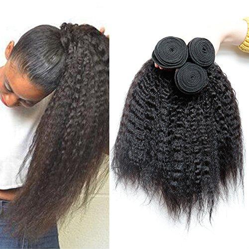 XiaoYuan Brazilian Yaki Straight Hair 3 Bundles 8a 100% Unprocessed Virgin Human Hair Extensions,Natural Color (100+/-5g)/pc