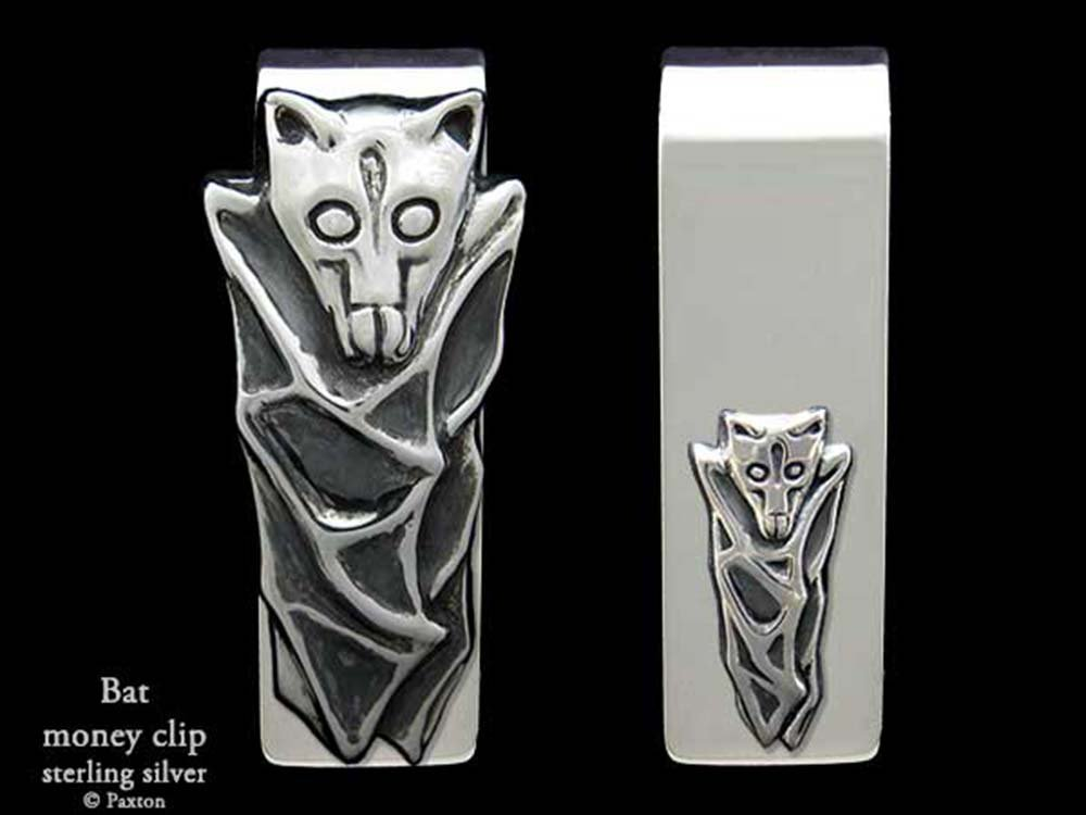 Bat Money Clip in Solid Sterling Silver Hand Carved, Cast & Fabricated by Paxton