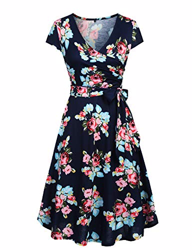 Ivicoer Women's Plus Size Summer V Neck Wrap Cap Sleeve Floral Printed Vintage Swing Dress Navy Blue Peony 4XL with Belt (Navy Vintage Necklaces)