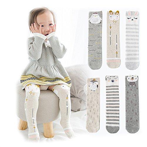 Unisex Baby Socks Toddler Girl Knee High Socks Leg Warmers Animal Cotton Socks 1-7 Yrs (Pack of 6 Pairs)