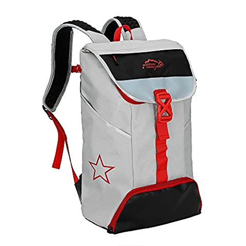 Local Lion Unisex Camping Outdoor Hiking Rucksack Backpack 15L Grey&Red