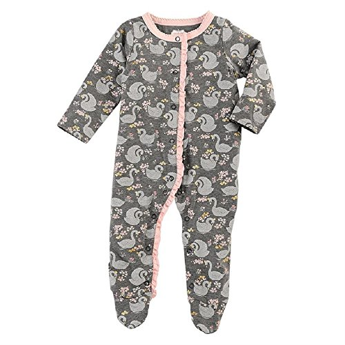 Mud Pie Swan Footed Sleeper, Gray, 0-3 Months