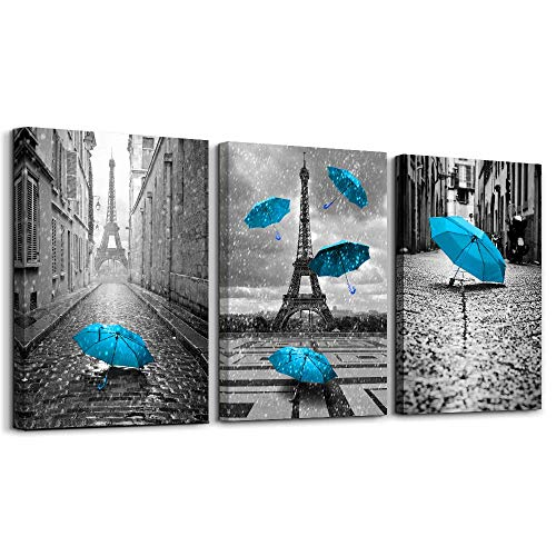 Paris Wall Decor for Bedroom Eiffel Tower Picture Home Decor Bedding Black White Wall Art Blue Umbrella Giclee Print on Canvas with Wooden Framed Ready to Hang Single Piece