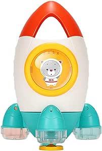 kelebin Cute Rocket Shape Rotable Water Spray Toy Bath Beach Toys for Kids Indoor Outdoor Supplies