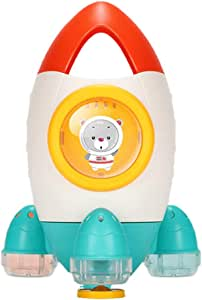 kelebin Cute Rocket Shape Rotable Water Spray Toy Bath Beach Toys for Kids Indoor Outdoor Supplies