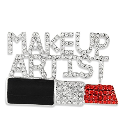 Silver Tone Pave Clear & Red Crystal & Enamel Lipstick Makeup Artist (Makeup Brooch)
