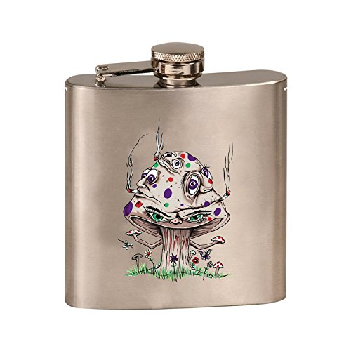 - High Mushroom Funny Shroom Smoking Joint Cartoon - 3D Color Printed 6 oz. Stainless Steel Flask (Steel Silver)