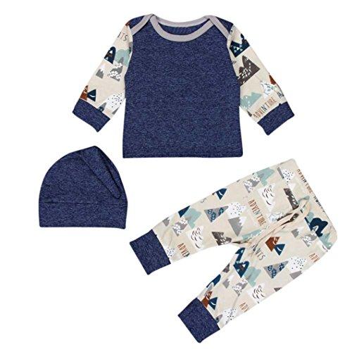 3pcs Kids Baby Boys Girl Long Sleeve Star T-shirt Tops Pants Hat Outfit Set(Blue) - 3