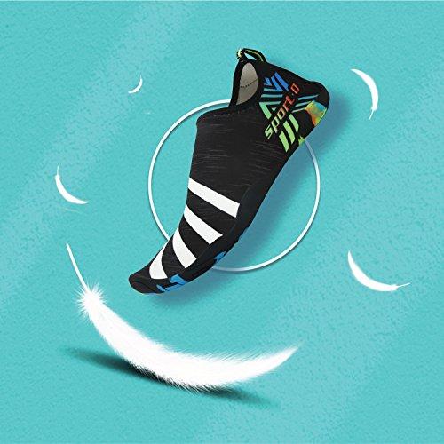 Bigcount Pantoufles Eau Chaussures Été À Séchage Rapide Natation Yoga Aérobic Plage Piscine Enfant Femmes Hommes Unisexe Noir