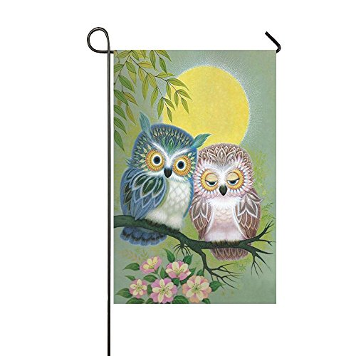 Rossne G sun Night Tired Couple Owl Perch In The Tree Garden Flag House Flag Decoration Double Sided Flag 12.5 x 18 Inch