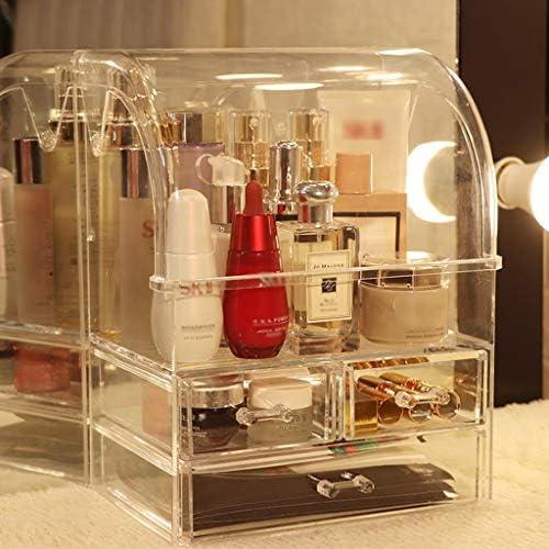 化粧品収納ボックス 化粧品収納ボックス化粧台仕上げボックスマスク口紅スキンケアラック引き出しタイプ可能アクリル素材片手ハンドル透明 JSSFQK
