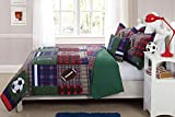 Mk Collection 4pc Full Size Reversible Coverlet Bedspread Set Sports Football Soccer Plaid Green Red Navy Blue Light Blue Taupe White Brown New