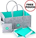 XL Diaper Caddy Organizer with FREE Pouch - Premium Felt Nursery Organizing Basket For Baby Changing Essentials - Baby Shower Gift Idea and Toy Storage For Boys And Girls | MARI New York
