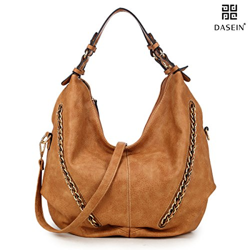 DASEIN Women Casual Hobo Shoulder Bag Soft Washed Vintage Handbags Designer Tote Purses (6332- Brown New)