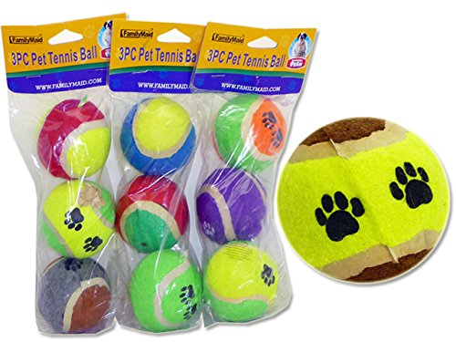 PET TENNIS BALL 3PC HC 4.3X2.4'' 5C PE BAG , Case of 72