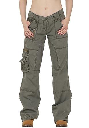 LS EAST Damen Cargo Jeans Grün (34): : Bekleidung