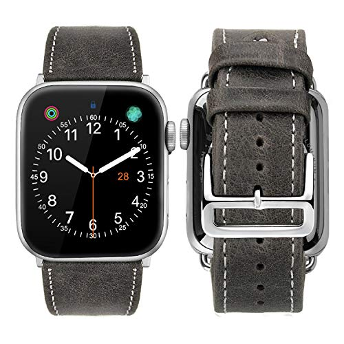 iBazal Compatible Apple Watch Band, 42mm 44mm [Vintage Style] Genuine Leather Band with Stainless Steel Clasp Buckle Replacement for 42mm 44mm iWatch Series 4/3/ 2/1 - Coffee 42mm