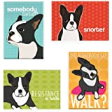Pop Doggie Boston Terrier Refrigerator Magnets with Funny Sayings (Set of 4)