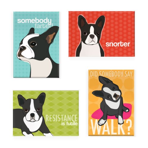 Pop Doggie Boston Terrier Refrigerator Magnets with Funny Sa