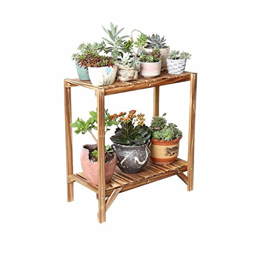 Solid Wood Flower Stand 2-Tier Balcony Carbonized Color Flowerpot Bonsai Potted Rack Simple Plant Display Shelf Double Tier Living Room Floor-Standing Indoor Outdoor (Size:57.2cm, 84.4cm)