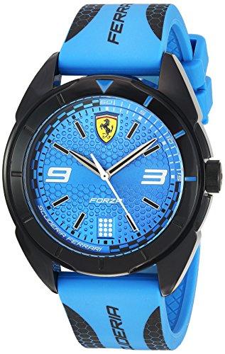 Ferrari Men's 'Forza' Quartz Plastic and Silicone Casual Watch, Color Blue (Model: 0830518)