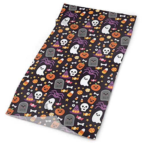 Happy Halloween Ghostly Star Candy Spider Bat Pumpkin Versatile Face Mask Shields, Casual Balaclava Headwear, Stretchable Bandana Headbands, Wind/Sun/UV Protection/Dust Neck Gaiter