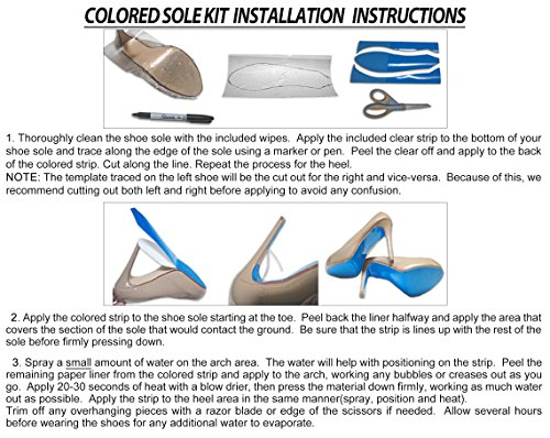 Colored Shoe Sole Kit - Slip Resistant Shoe Bottom Cover for Women's Heels (Black)